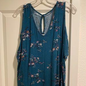 Macy's teal floral cold shoulder cotton top